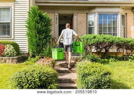 Fairfax, Usa - September 12, 2017: Amazon Fresh Insulated Grocery Delivery Bags Totes On Front Home