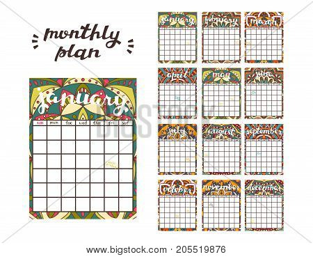 Monthly Planner Template. Planner Calendar with All Months.