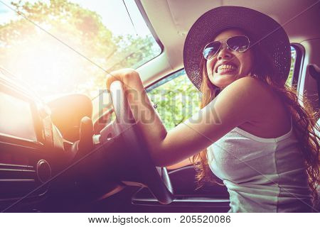 Asian women travel relax in the holiday. drive a car Happy travel