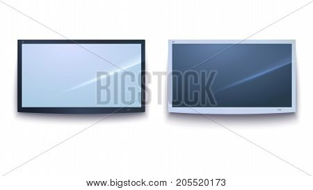 Set of Smart TV icons, dark and light TV screen, LED TV hanging, isolated on the white background. Horizontal billboards template with bend corners, 3D illustration. Widescreen monitor, template