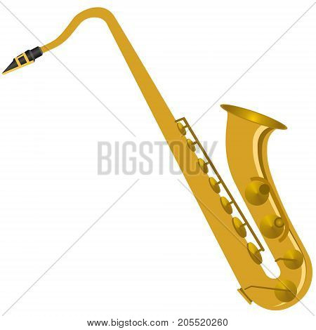Musical instrument Saxophone. The illustration on a white background.