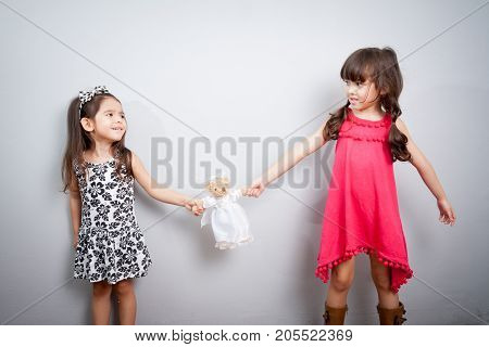 girl fight. the conflict between two sisters. the kids are fighting over a toy