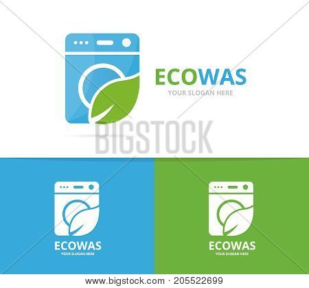 Vector of laundry and leaf logo combination. Washing machine and eco symbol or icon. Unique washer and organic logotype design template.