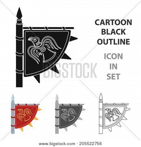 Viking's flag icon in cartoon design isolated on white background. Vikings symbol stock vector illustration.