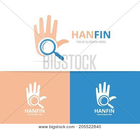 Vector of hand and loupe logo combination. Arm and magnifying symbol or icon. Unique support and search logotype design template.