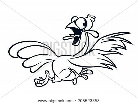 Screaming running cartoon turkey bird character. Vector illustration of turkey escape for coloring book. Black and white strokes