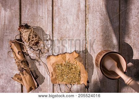 Medicine. Flower ingredients natural herb on wooden background. Therapeutic herbal tea preparation, homemade alternative drug, free and copy space poster