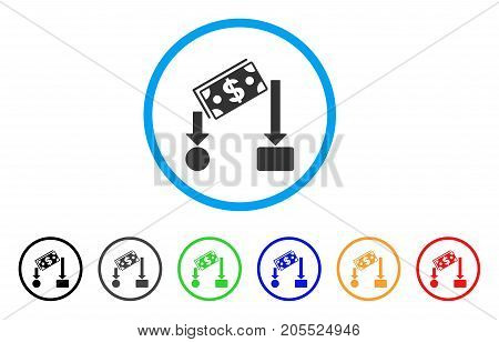 Cash Flow rounded icon. Style is a flat cash flow grey symbol inside light blue circle with black, gray, green, blue, red, orange versions. Vector designed for web and software interfaces.