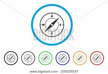 Compass rounded icon. Style is a flat compass gray symbol inside light blue circle with black, gray, green, blue, red, orange versions. Vector designed for web and software interfaces.