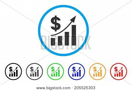Dollar Bar Chart Trend rounded icon. Style is a flat dollar bar chart trend gray symbol inside light blue circle with black, gray, green, blue, red, orange versions.