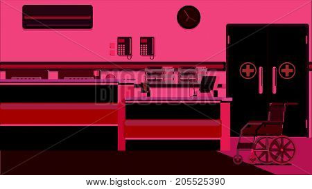 Hospital Reception Doctors Office colorful illustration rasterized
