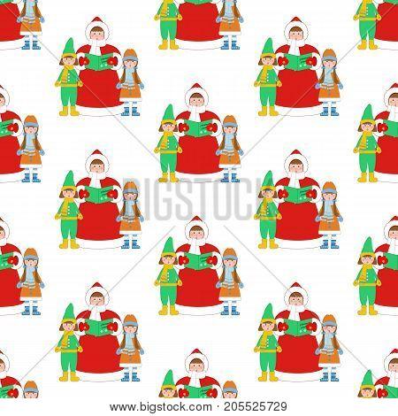 Christmas Carols singer pattern on the white background. Vector illustration