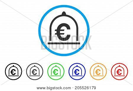 Euro Standard rounded icon. Style is a flat euro standard gray symbol inside light blue circle with black, gray, green, blue, red, orange color versions.