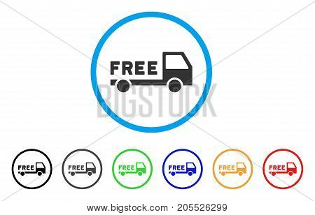 Free Delivery rounded icon. Style is a flat free delivery gray symbol inside light blue circle with black, gray, green, blue, red, orange versions. Vector designed for web and software interfaces.