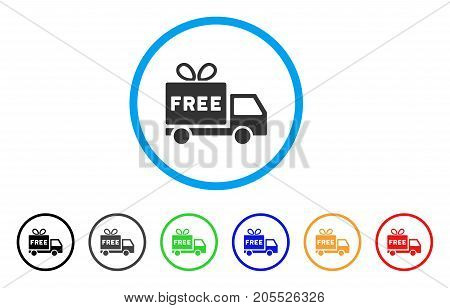 Free Shipment rounded icon. Style is a flat free shipment gray symbol inside light blue circle with black, gray, green, blue, red, orange variants. Vector designed for web and software interfaces.