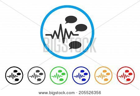 Gossip Generation Signal rounded icon. Style is a flat gossip generation signal grey symbol inside light blue circle with black, gray, green, blue, red, orange versions.
