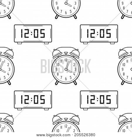 Electronic watch and alarm clock. Black and white seamless pattern for coloring books, pages. Vector illustration.