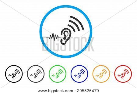 Listen And Transmit rounded icon. Style is a flat listen and transmit gray symbol inside light blue circle with black, gray, green, blue, red, orange versions.