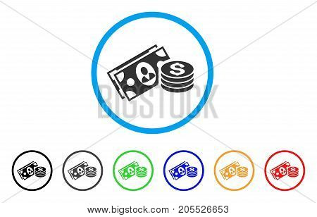Money Cash rounded icon. Style is a flat money cash gray symbol inside light blue circle with black, gray, green, blue, red, orange variants. Vector designed for web and software interfaces.