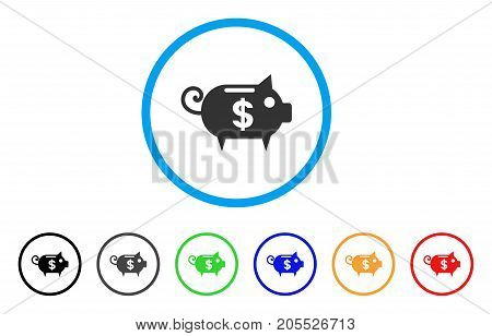 Piggy Bank rounded icon. Style is a flat piggy bank grey symbol inside light blue circle with black, gray, green, blue, red, orange variants. Vector designed for web and software interfaces.