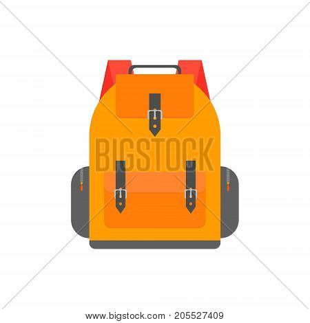 Orange back pack for study. Schoolbag illustration isolated