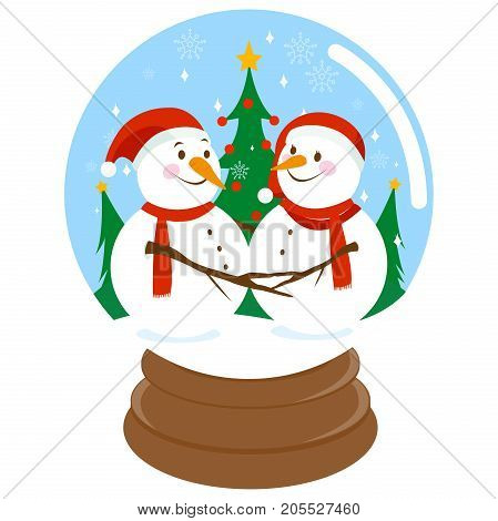 Cute snowmen in a beautiful snowy landscape with Christmas trees inside a snow globe.