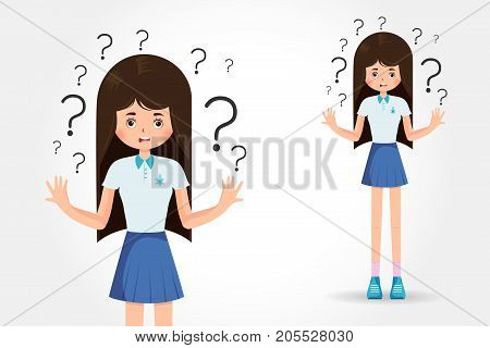A beautiful girl spread out her hands in misunderstanding isolated on white background vector illustration. Sad young woman with open hands gesture. A charming adult girl shrugs shoulders.