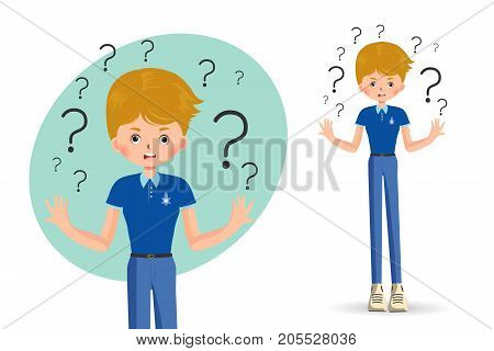 boy spreads out his hands in misunderstanding isolated on white background vector illustration.
