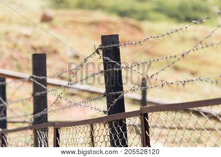 barbed wire fence . In the park in nature
