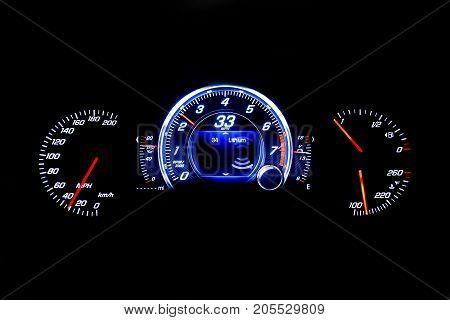 Modern Light Car Mileage On Black Background 33 Mph