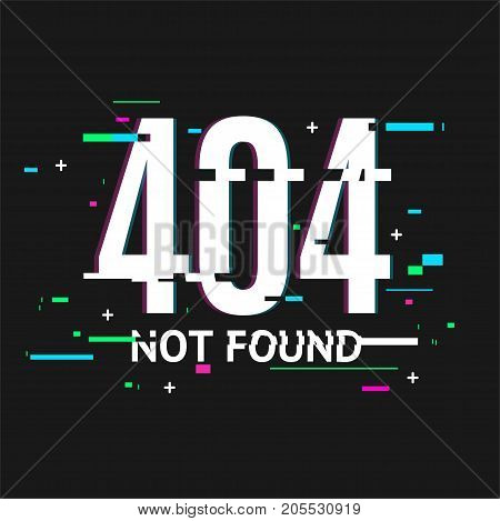 404 Not Found Problem Disconnect Concept Glitch Style on a Black Background Trendy Glitched Geometric Line Dynamic Element. Vector illustration