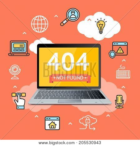 404 Not Found Page in Notebook Concept with Computer Screen Symbols and Line Icons for Web Internet Mistake. Vector illustration