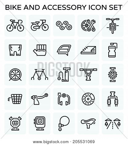 Vector line icon of bicycle and accessory.