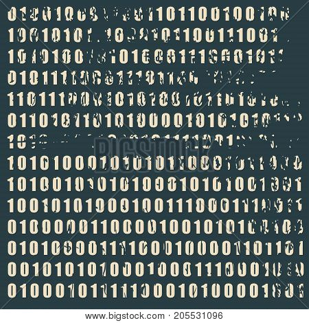 Binary code background with digits on screen. Algorithm binary, data code, decryption and encoding, row matrix. Grunge distress texture
