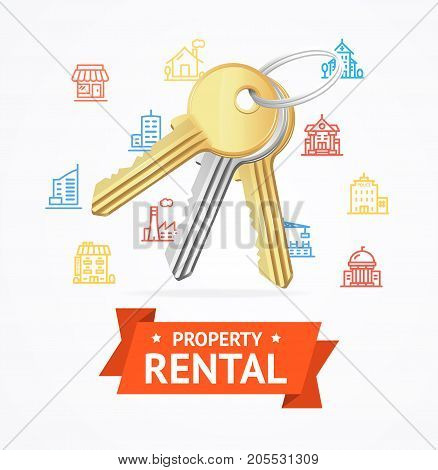 Realistic Detailed Keys to House Property Rental Concept witch Color Outline Icons Building House Urban Architecture. Vector illustration of Key