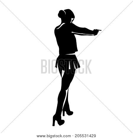 Shooting girl silhouette. Secret service female agent in black colour shooting with revolver. Sexy woman on duty. Vector illustration isolated on a white background.