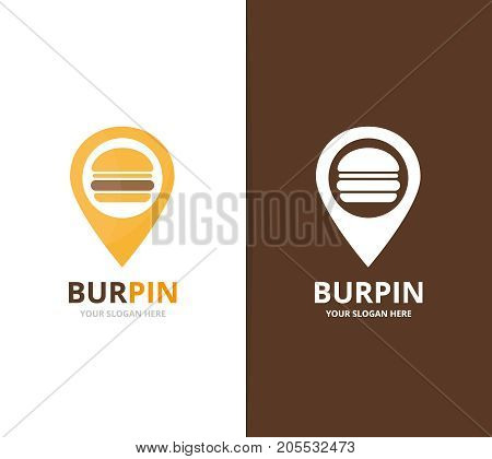 Vector burger and map pointer logo combination. Hamburger and gps locator symbol or icon. Unique fastfood and pin logotype design template.