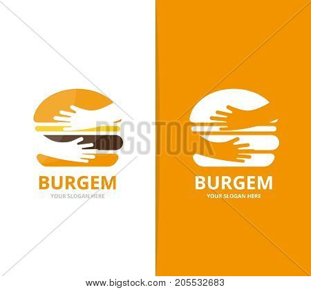 Vector burger and hands logo combination. Hamburger and embrace symbol or icon. Unique fastfood and team, friendship logotype design template.
