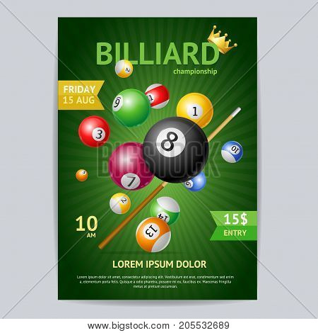 Billiard Tournament Poster Card Template Realistic Ball with Cue Concept for Ad, Invitation, Presentation on a Green. Vector illustration of Billiard Sport Game