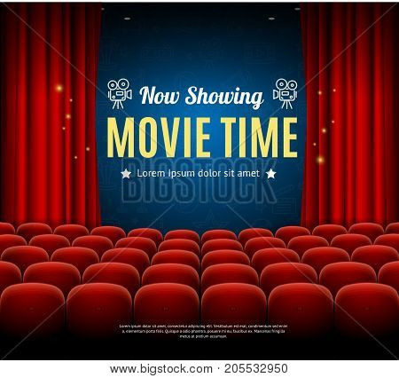 Cinema Movie Time Background Card Auditorium for Show, Premiere and Presentation or Performance. Vector illustration of Showing Film Placard