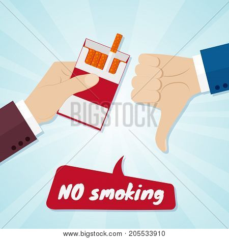 Hand rejecting proposal smoke from pack in hand. No smoking concept. Vector illustration.