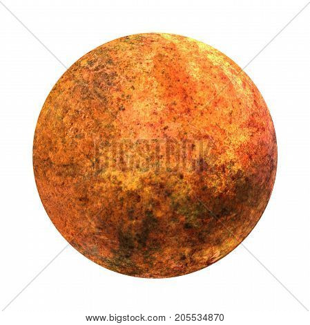 Venus. Isolated planet on white background. High resolution art presents planet of the solar system. It is the second planet from the Sun. It is a terrestrial planet. 3D illustration.
