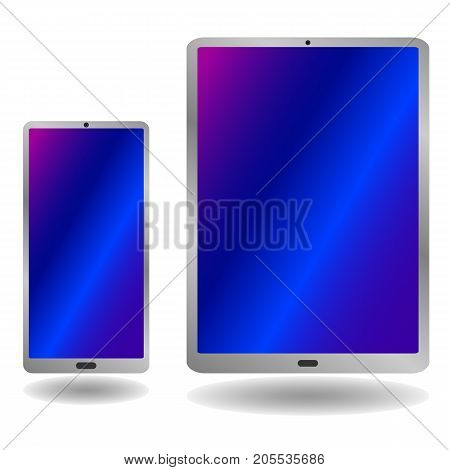 Tablet And Smartphone Isolated On White Background, Vector Illustration.