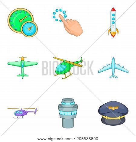 Aerodrome icons set. Cartoon set of 9 aerodrome vector icons for web isolated on white background