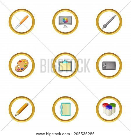 Art instrument icons set. Cartoon style set of 9 art instrument vector icons for web design