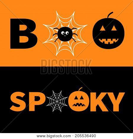 Word BOO SPOOKY text with smiling sad black pumpkin silhouette. Spider net insect. Round cobweb. Happy Halloween. Greeting card. Banner lettering set. Flat design Orange background Vector illustration