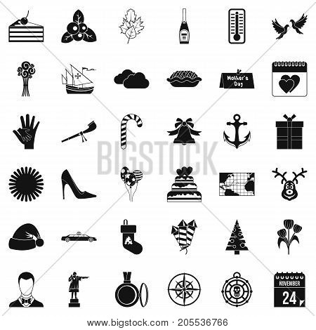 November icons set. Simple style of 36 november vector icons for web isolated on white background