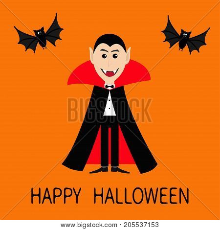 Count Dracula wearing black and red cape. Cute cartoon vampire character face with fangs. Two flying bat animal. Happy Halloween. Flat design. Orange background. Vector illustration