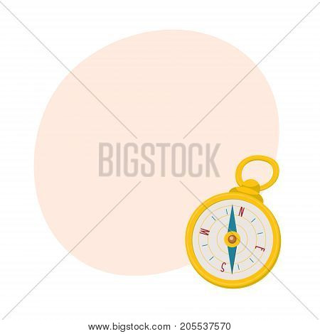 Golden retro style navigational compass with place for text, cartoon vector illustration isolated on white background. Cartoon style navigational compass in golden case