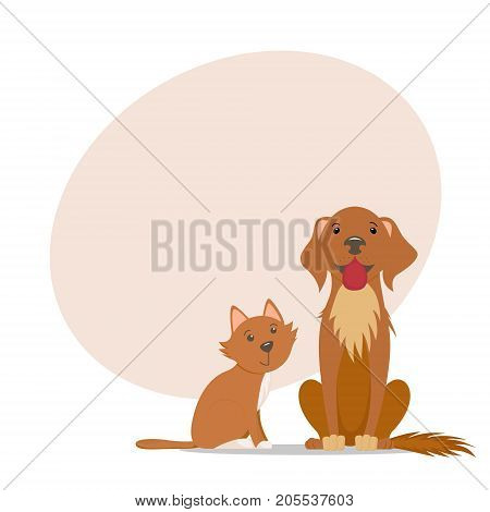 Cute little red cat, big friendly labrador dog and place for text, cartoon illustration isolated on white background. Cartoon cat, kitten and labrador dog, puppy characters, sitting together